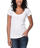 Zine Beta White Slub V-Neck T-Shirt