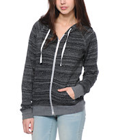 Zine Black & Grey Burnout Tribal Print Zip Up Hoodie