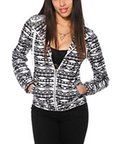Zine Black & White Tribal Print Windbreaker Jacket