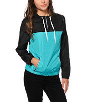 Zine Black & turquoise Pullover Windbreaker Jacket