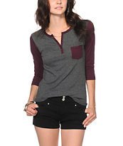 Zine Blackberry & Charcoal Henley Shirt