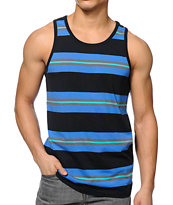 Zine Blast Blue & Black Stripe Tank Top