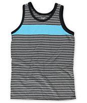 Zine Boys Blue Steel Teal & Black Stripe Tank Top