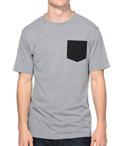 Zine Bullet Grey Speckle Pocket Tee Shirt