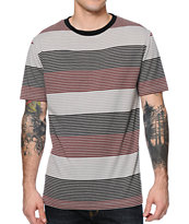 Zine Burgundy, Black & Grey Stripe Tee Shirt