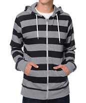 Zine Busted Grey & Black Stripe Zip Up Hoodie