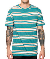 Zine Car Aqua, Tan, & White Stripe Tee Shirt