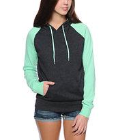 Zine Charcoal & Mint Raglan Pullover Hoodie