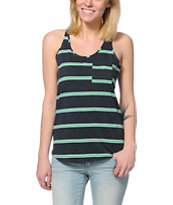 Zine Charcoal & Neon Mint Mini Stripe Pocket Tank Top