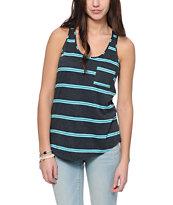 Zine Charcoal & Radiance Mint Stripe Pocket Tank Top