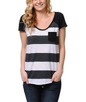 Zine Charcoal Scoop Neck Stripe Tee Shirt