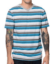 Zine Cheeseball Blue Stripe V-Neck Tee Shirt