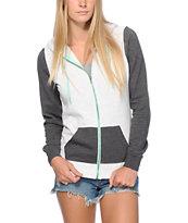 Zine Contrast Zip Charcoal & Grey Hoodie