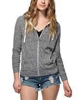 Zine Contrast Zipper Heather Grey Zip Up Hoodie