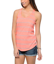 Zine Coral & Grey Mini Stripe Tank Top