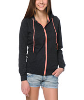 Zine Dark Grey & Coral Zip Up Hoodie