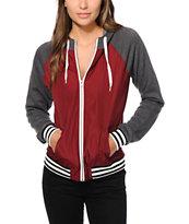 Zine Davina Burgundy & Charcoal Windbreaker Jacket