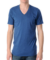 Zine Deuce Heather Blue V-Neck Tee Shirt