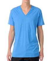 Zine Deuce Light Heather Blue V-Neck Tee Shirt