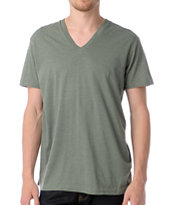 Zine Deuce Olive Green V-Neck T-Shirt