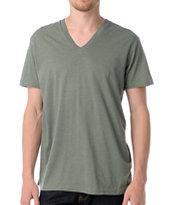 Zine Deuce Olive Green V-Neck Tee Shirt
