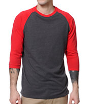 Zine First Place Red & Charcoal Baseball T-Shirt