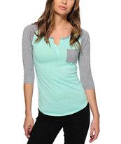 Zine Gamma Mint & Charcoal Henley Shirt