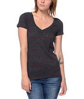 Zine Girls Beta Charcoal Stripe Slub V-Neck Tee Shirt