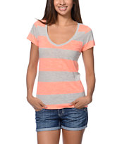 Zine Girls Beta Coral & Grey Rugby Stripe Slub V-Neck Tee Shirt