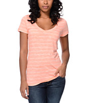 Zine Girls Beta Coral Stripe Slub V-Neck Tee Shirt