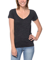 Zine Girls Beta Heather Charcoal Slub V-Neck Tee Shirt