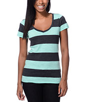 Zine Girls Beta Ice Green & Charcoal Stripe Slub Tee Shirt