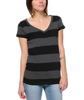 Zine Girls Black & Charcoal Rugby Stripe V-Neck Tee Shirt