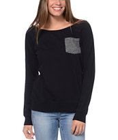 Zine Girls Black Crew Neck Pocket Sweatshirt