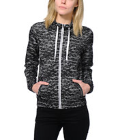 Zine Girls Black Lace Printed Windbreaker Jacket