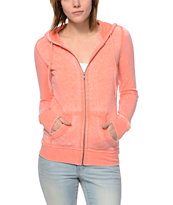 Zine Girls Burnout Coral Zip Up Hoodie