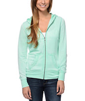 Zine Girls Burnout Ice Green Zip Up Hoodie