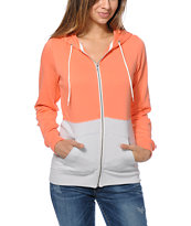 Zine Girls Colorblock Coral & Grey Zip Up Hoodie