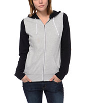 Zine Girls Colorblock Heather Grey & Black Zip Up Hoodie