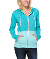 Zine Girls Colorblock Turquoise & Aqua Zip Up Hoodie