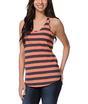 Zine Girls Coral & Charcoal Stripe Racerback Tank Top