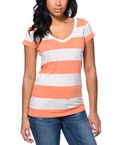 Zine Girls Coral & Oatmeal Rugby Stripe V-Neck Tee Shirt