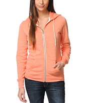 Zine Girls Fresh Salmon Peach Zip Up Hoodie