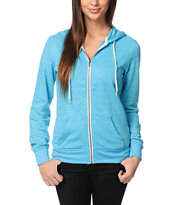 Zine Girls Hawaiian Ocean Aruba Blue Zip Up Hoodie