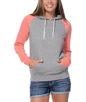 Zine Girls Heather Grey & Coral Pullover Hoodie