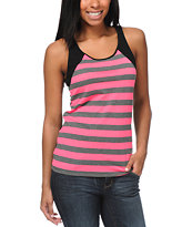Zine Girls Knockout Pink & Charcoal Stripe Tank Top