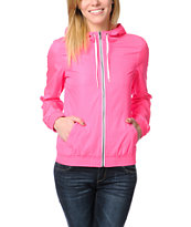 Zine Girls Neon Pink Windbreaker Jacket