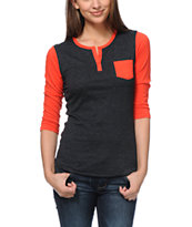Zine Girls Neon Red & Charcoal Henley Baseball Tee Shirt