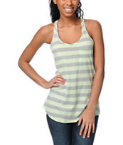 Zine Girls Patina Green Stripe Racerback Tank Top