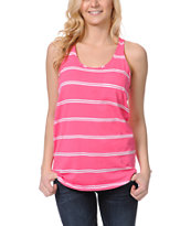 Zine Girls Pink & White Stripe Racerback Tank Top